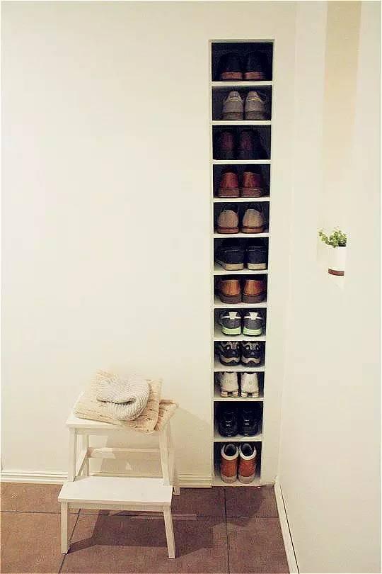 谁说鞋子一定要放鞋柜?不用鞋柜照样完美收纳