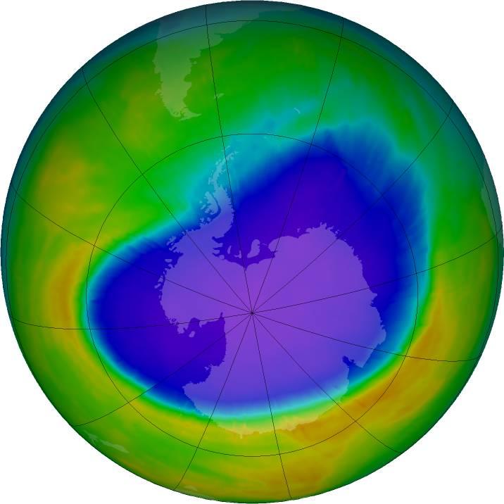 2016年南极臭氧洞大小符合科学预期
